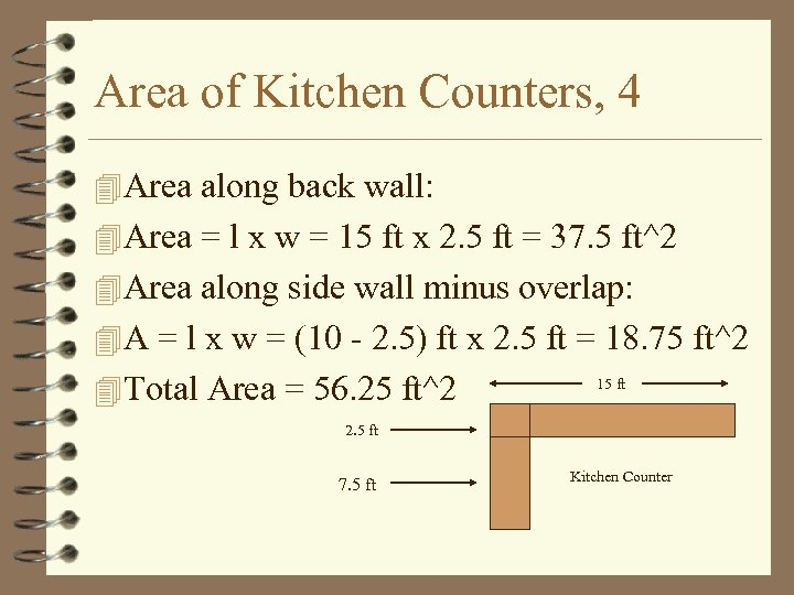 Area of Kitchen Counters, 4 4 Area along back wall: 4 Area = l