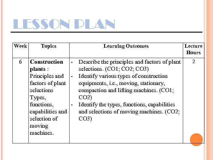 LESSON PLAN Week 6 Topics Construction plants : Principles and factors of plant selections