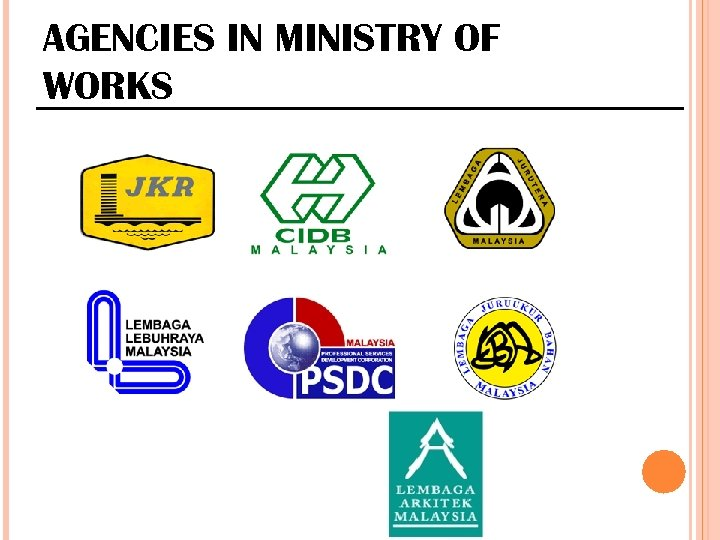AGENCIES IN MINISTRY OF WORKS