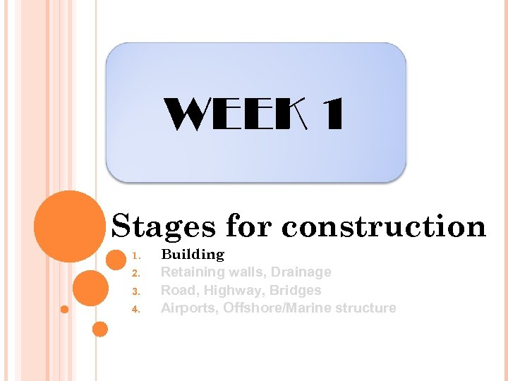 WEEK 1 Stages for construction 1. 2. 3. 4. Building Retaining walls, Drainage Road,
