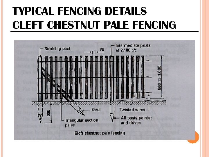 TYPICAL FENCING DETAILS CLEFT CHESTNUT PALE FENCING