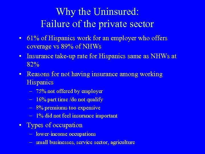 Why the Uninsured: Failure of the private sector • 61% of Hispanics work for