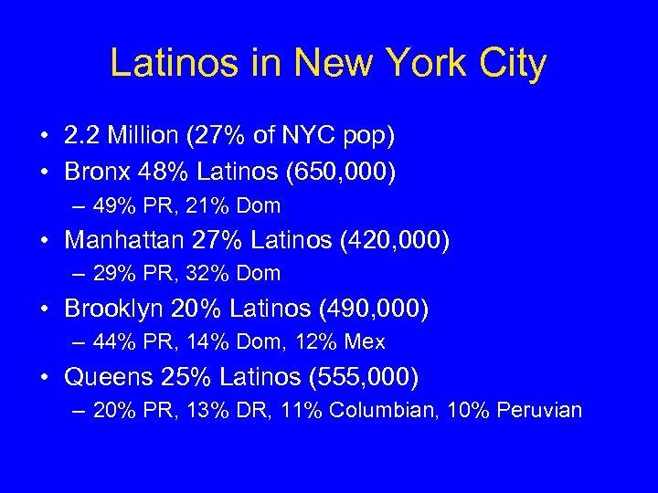 Latinos in New York City • 2. 2 Million (27% of NYC pop) •