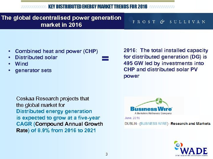 The global decentralised power generation market in 2016 • • Combined heat and power