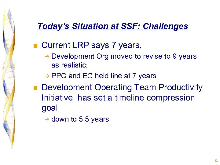 Today's Situation at SSF: Challenges n Current LRP says 7 years, à Development Org