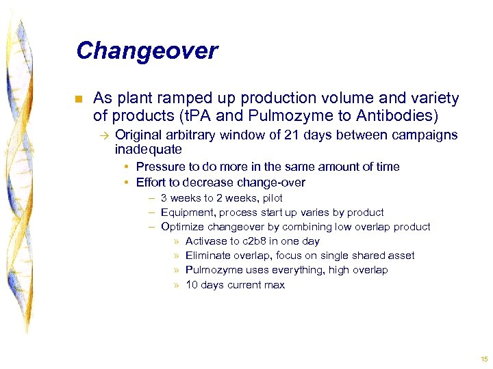 Changeover n As plant ramped up production volume and variety of products (t. PA