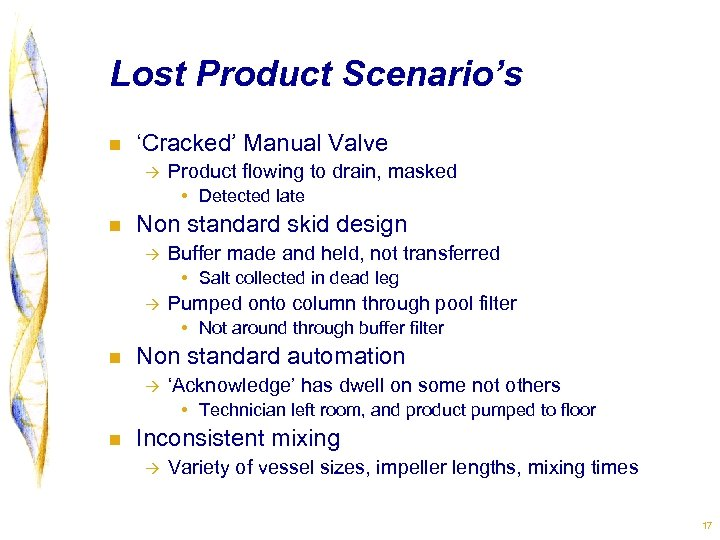 Lost Product Scenario's n 'Cracked' Manual Valve à Product flowing to drain, masked •