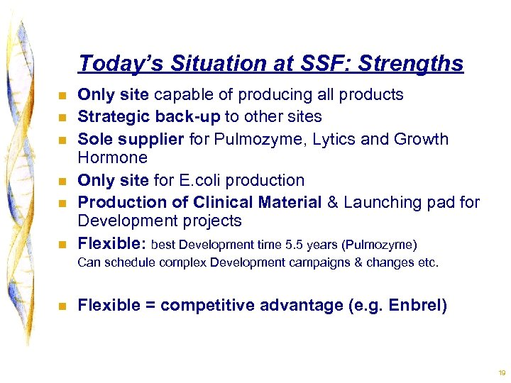 Today's Situation at SSF: Strengths n n n Only site capable of producing all