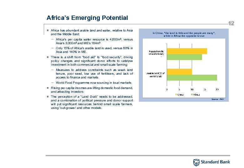 Africa's Emerging Potential n Africa has abundant arable land water, relative to Asia and