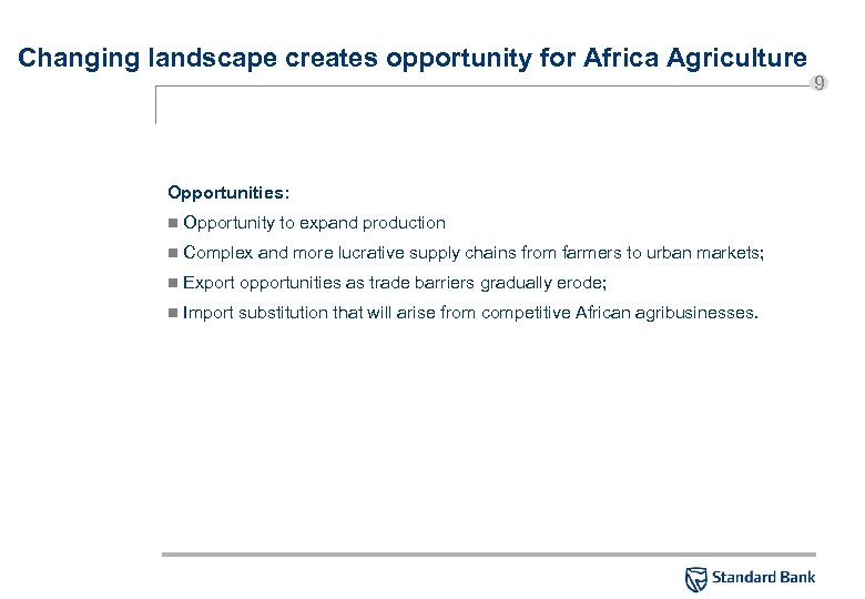 Changing landscape creates opportunity for Africa Agriculture Opportunities: n Opportunity to expand production n
