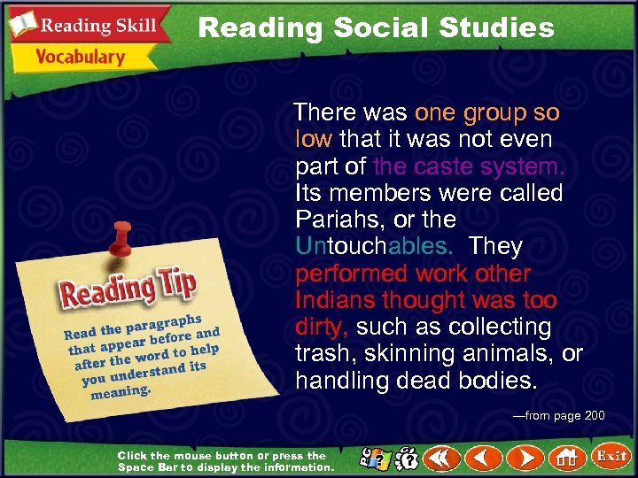 Reading Social Studies There was one group so low that it was not even