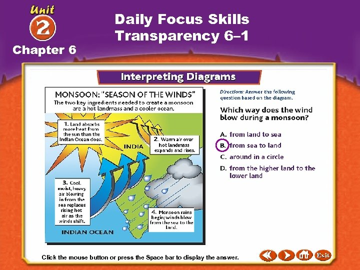 Chapter 6 Daily Focus Skills Transparency 6– 1 Click the mouse button or press