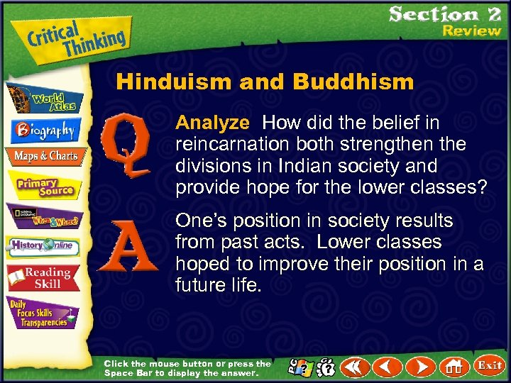 Hinduism and Buddhism Analyze How did the belief in reincarnation both strengthen the divisions