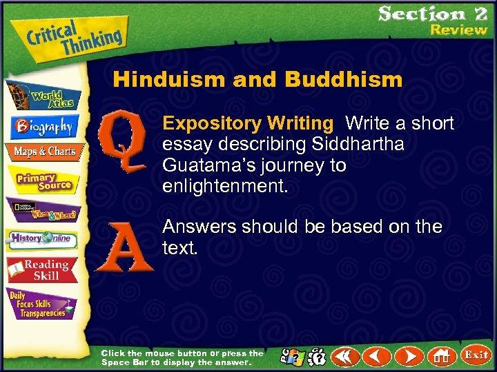 Hinduism and Buddhism Expository Writing Write a short essay describing Siddhartha Guatama's journey to