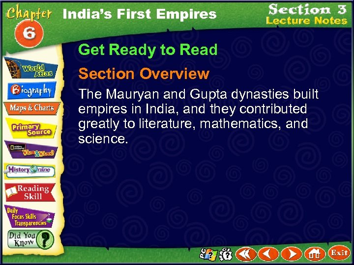 India's First Empires Get Ready to Read Section Overview The Mauryan and Gupta dynasties