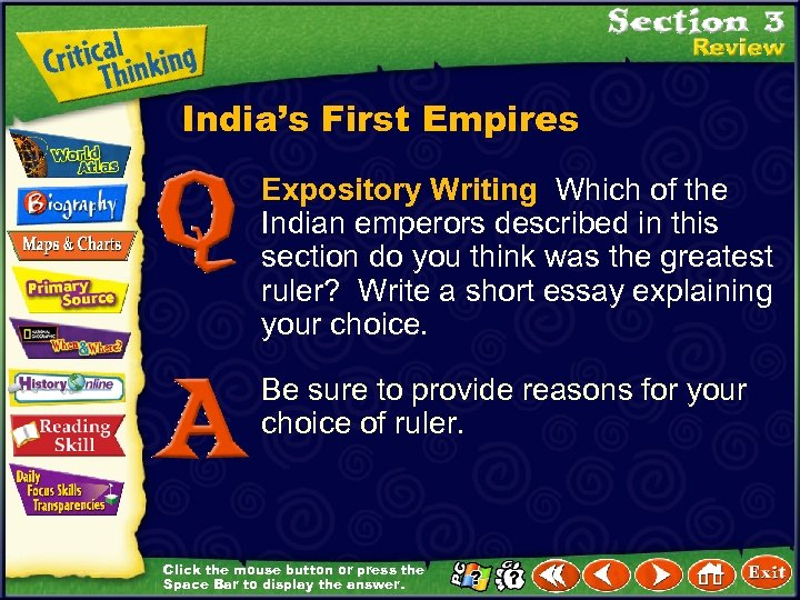 India's First Empires Expository Writing Which of the Indian emperors described in this section