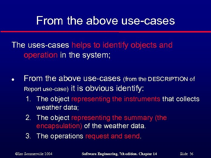 From the above use-cases The uses-cases helps to identify objects and operation in the