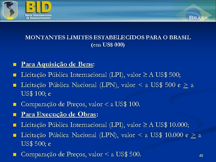 MONTANTES LIMITES ESTABELECIDOS PARA O BRASIL (em US$ 000) n n n n Para