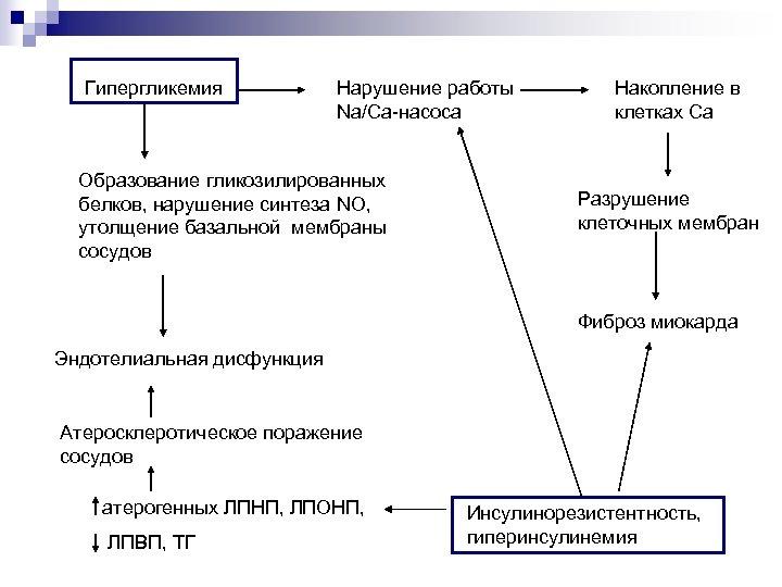 Гипергликемия Нарушение работы Na/Ca-насоса Образование гликозилированных белков, нарушение синтеза NO, утолщение базальной мембраны сосудов