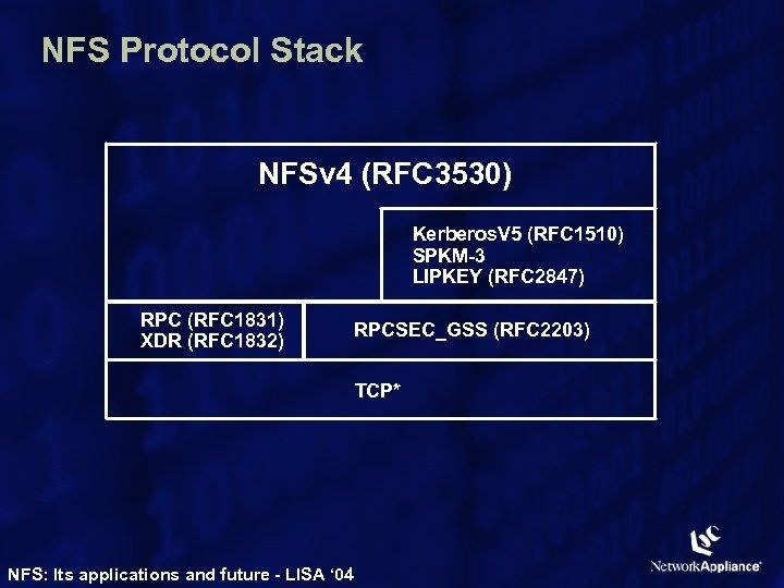 NFS Protocol Stack NFSv 4 (RFC 3530) Kerberos. V 5 (RFC 1510) SPKM-3 LIPKEY