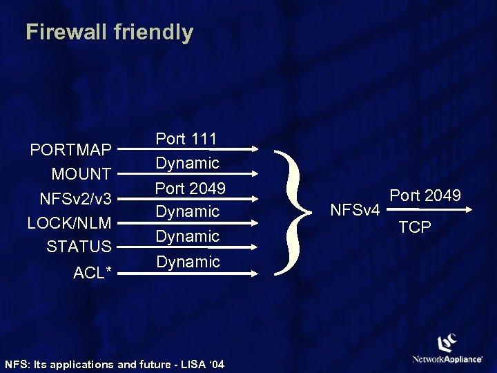 Firewall friendly PORTMAP MOUNT NFSv 2/v 3 LOCK/NLM STATUS ACL* Port 111 Dynamic Port
