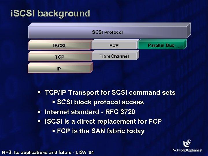 i. SCSI background SCSI Protocol i. SCSI FCP TCP Parallel Bus Fibre. Channel IP