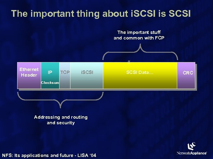 The important thing about i. SCSI is SCSI The important stuff and common with