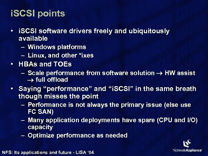 i. SCSI points • i. SCSI software drivers freely and ubiquitously available – Windows