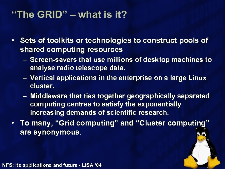 """The GRID"" – what is it? • Sets of toolkits or technologies to construct"