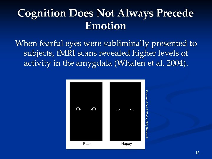 Cognition Does Not Always Precede Emotion When fearful eyes were subliminally presented to subjects,