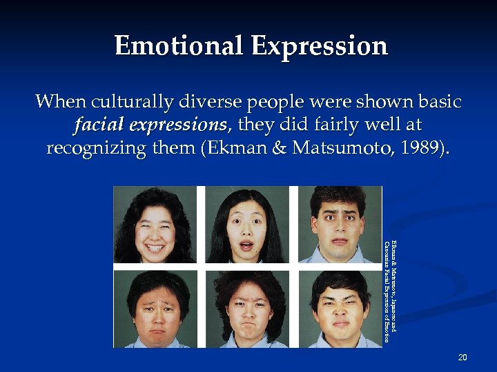 Emotional Expression When culturally diverse people were shown basic facial expressions, they did fairly