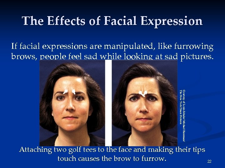 The Effects of Facial Expression If facial expressions are manipulated, like furrowing brows, people