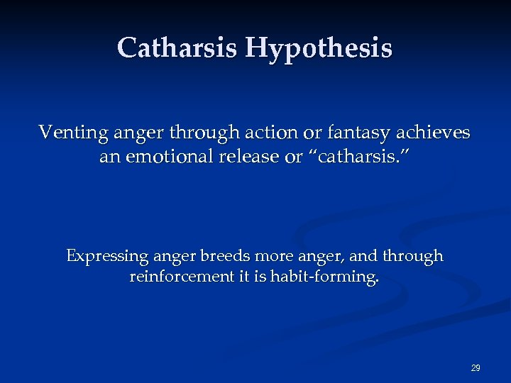"""Catharsis Hypothesis Venting anger through action or fantasy achieves an emotional release or """"catharsis."""