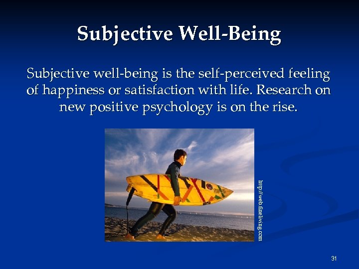 Subjective Well-Being Subjective well-being is the self-perceived feeling of happiness or satisfaction with life.