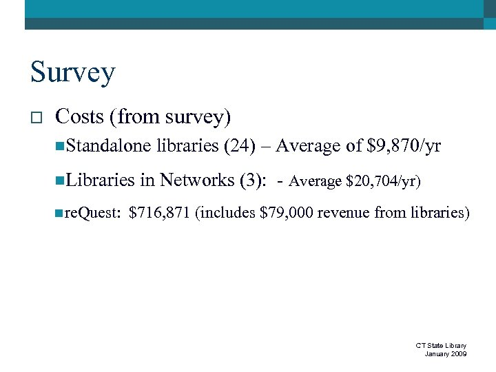 Survey o Costs (from survey) n. Standalone n. Libraries n re. Quest: libraries (24)