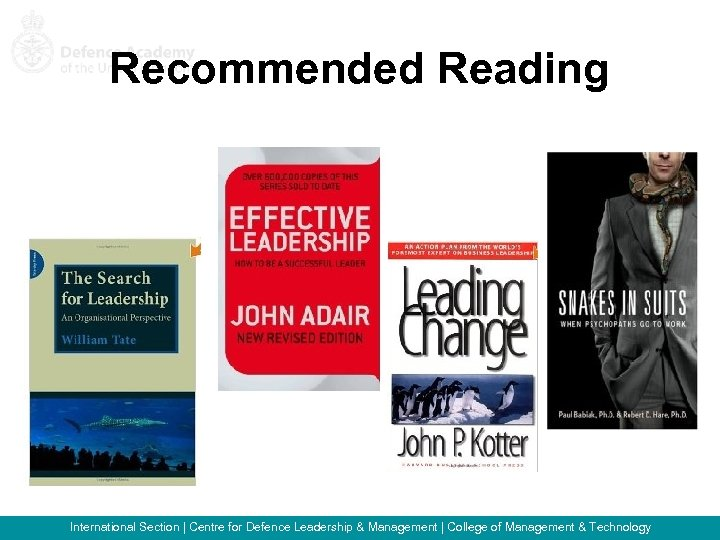 Recommended Reading International Section   Centre for Defence Leadership & Management   College of