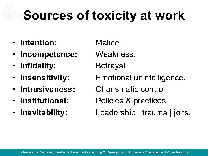 Sources of toxicity at work • • Intention: Incompetence: Infidelity: Insensitivity: Intrusiveness: Institutional: Inevitability: