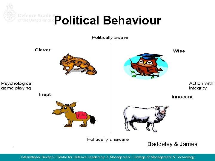 Political Behaviour Baddeley & James International Section   Centre for Defence Leadership & Management