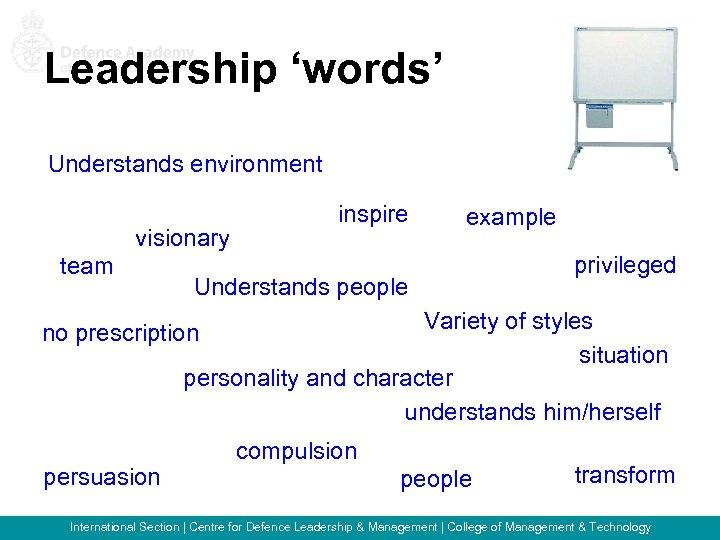 Leadership 'words' Understands environment visionary team inspire example Understands people privileged Variety of styles