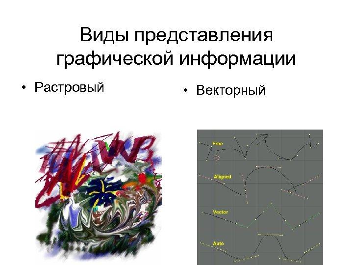 Виды представления графической информации • Растровый • Векторный