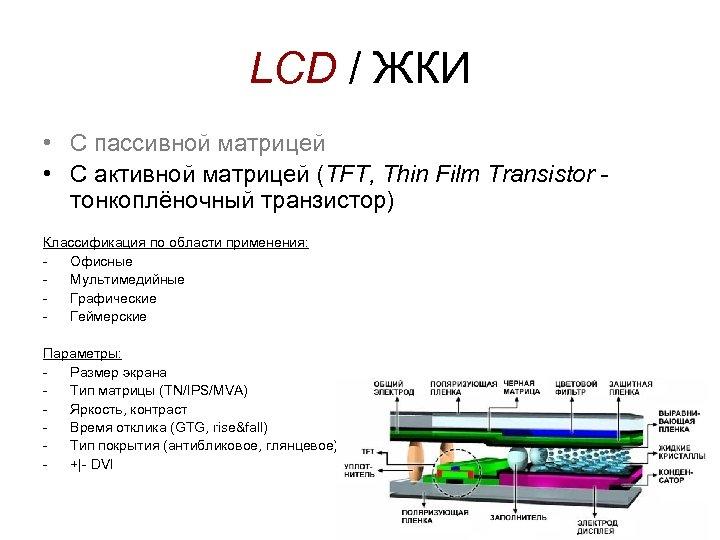 LCD / ЖКИ • С пассивной матрицей • С активной матрицей (TFT, Thin Film
