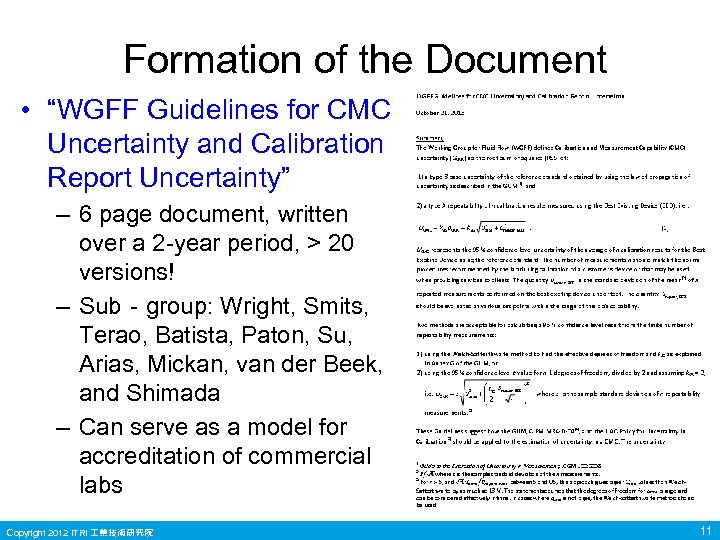 """Formation of the Document • """"WGFF Guidelines for CMC Uncertainty and Calibration Report Uncertainty"""""""