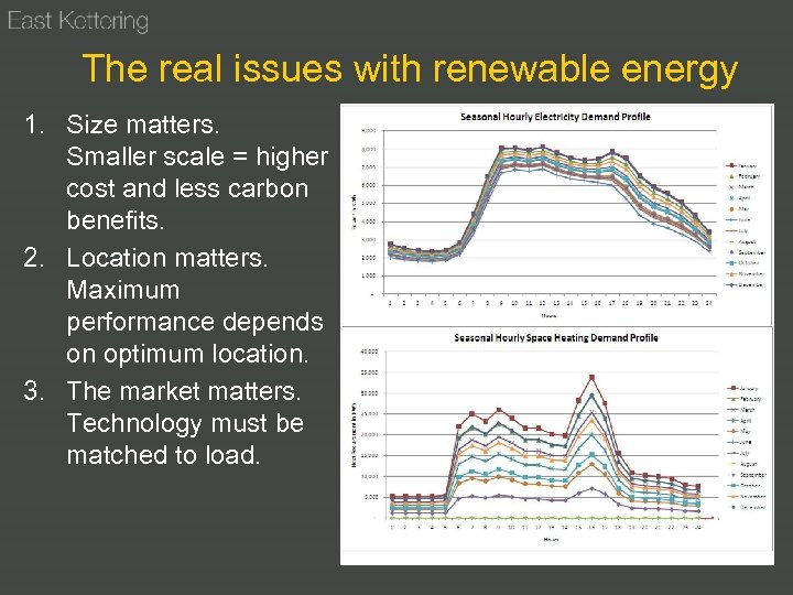 The real issues with renewable energy 1. Size matters. Smaller scale = higher cost