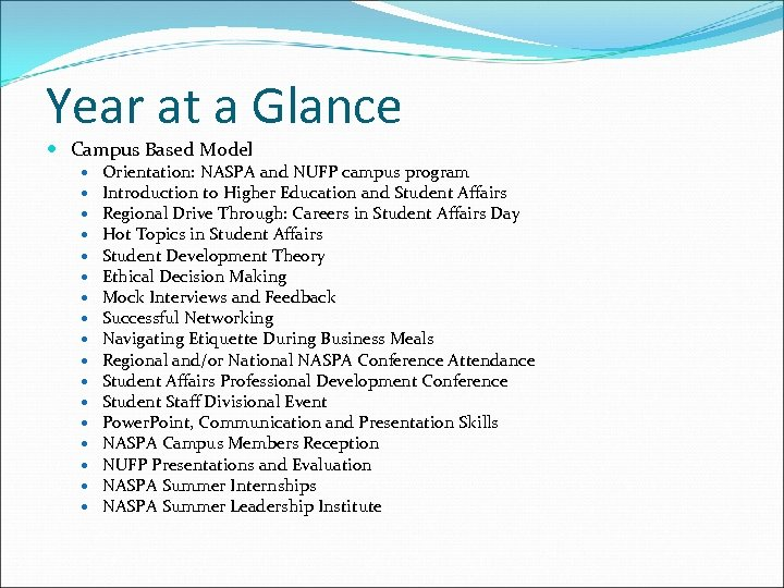 Year at a Glance Campus Based Model Orientation: NASPA and NUFP campus program Introduction