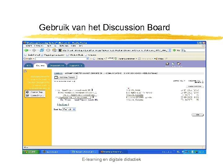 Gebruik van het Discussion Board E-learning en digitale didactiek