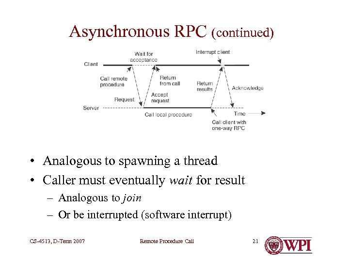 Asynchronous RPC (continued) • Analogous to spawning a thread • Caller must eventually wait