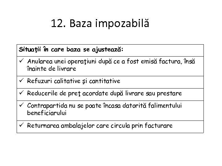 12. Baza impozabilă Situaţii în care baza se ajustează: Anularea unei operaţiuni după ce
