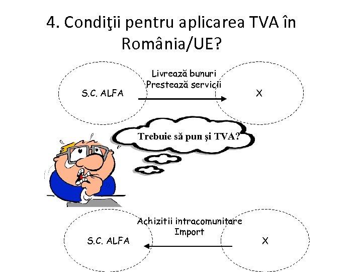 4. Condiţii pentru aplicarea TVA în România/UE? S. C. ALFA Livrează bunuri Prestează servicii