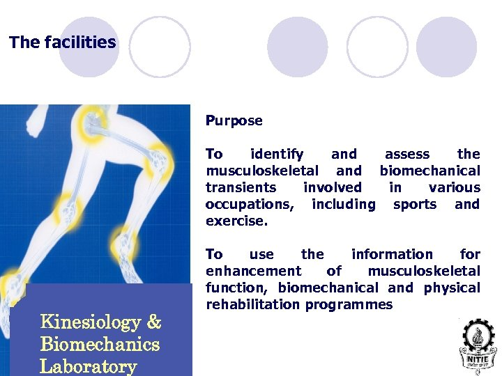 The facilities Purpose To identify and assess the musculoskeletal and biomechanical transients involved in