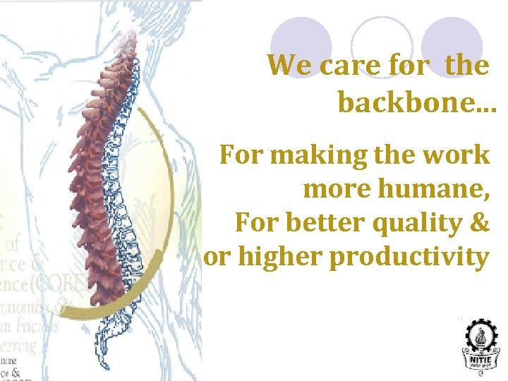We care for the backbone. . . For making the work more humane, For